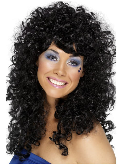 80s Style Black Curly Wig for Women