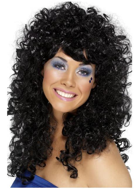 Czarna peruka kręcone włosy a la Lata 80. dla kobiet