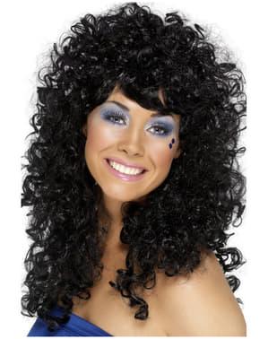 Peruca preta com caracóis anos 80 para mulher