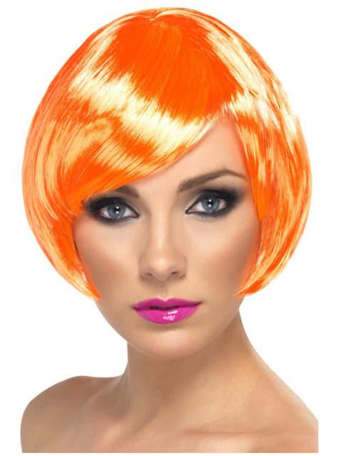Pruik korte bob oranje