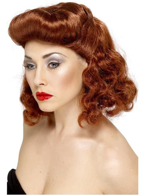 Curly Auburn Pin-Up Girl Wig
