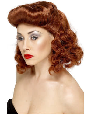 Curly Auburn Pin-Up Girl Wig