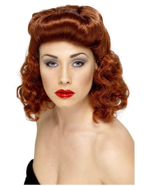 Perruque châtain rouge bouclé de femme pin up