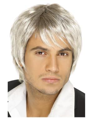 Perruque années 80 grise homme