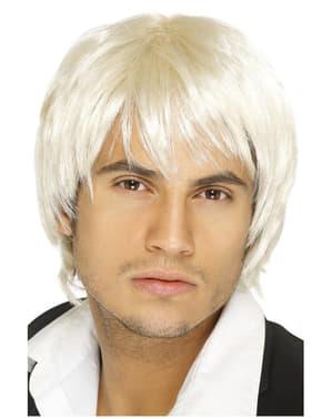 Peluca corta y rubia de chico de banda del pop