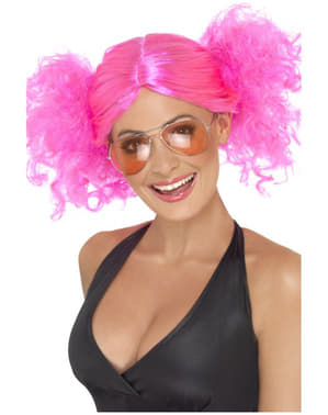 Pink Wig with Pigtails