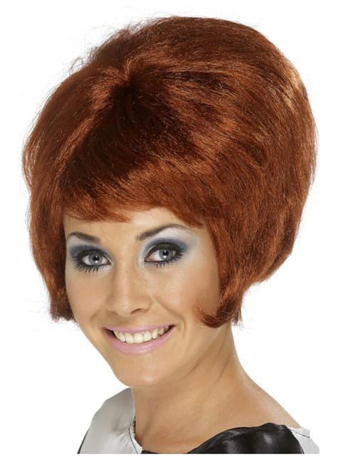 Ruskea 60- luvun peruukki