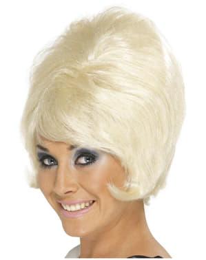 Perruque blonde en ruche des années 60