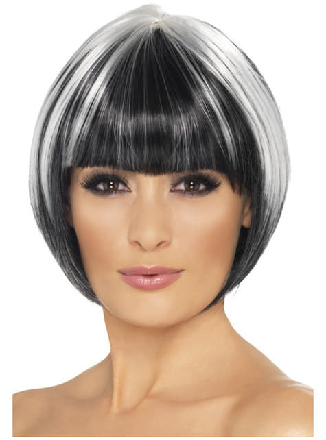 Short Black Wig with White St