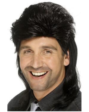 Чорна перука в стилі 80-х для чоловіків