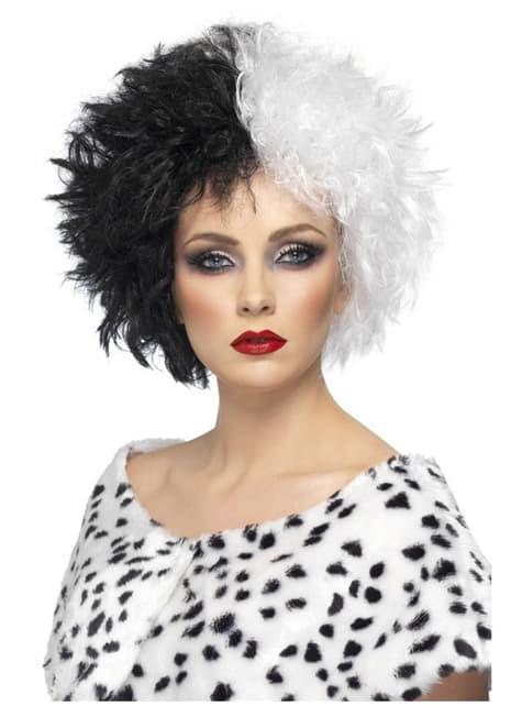 Peruca Cruella branca e preta