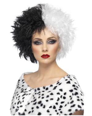 Mustavalkoinen Cruella-peruukki