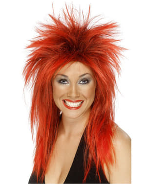 Peruk punky rödhårig och svart för henne