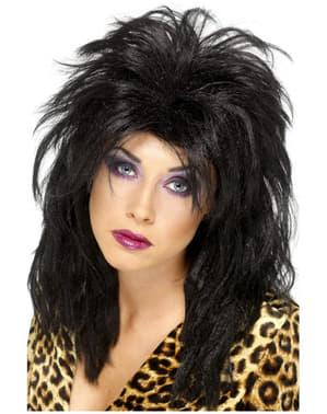 80s στυλ μαύρο περούκα για τις γυναίκες