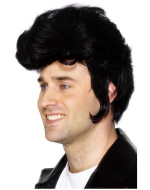 Nero Parrucca Ciuffo Da Uomo 50s Elvis Presley Rock N Roll Costume Accessorio