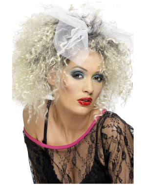 Перука блондинки в стили 80-х з бантиком
