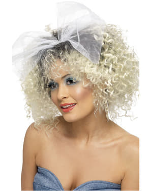 80s Style Blonde Wig with Bow