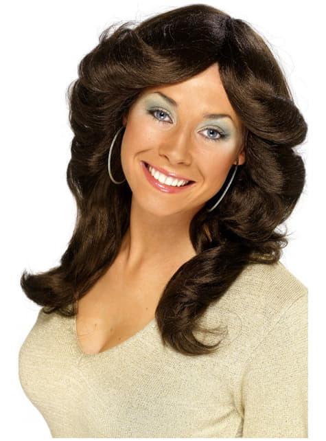 Кафява перука в стил 70-те