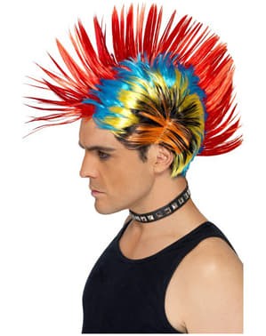 Flerfarvet Punk Paryk
