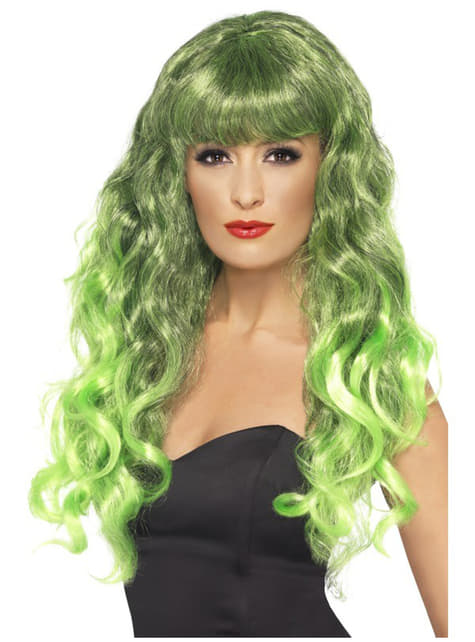Mermaid Green and Black Wig