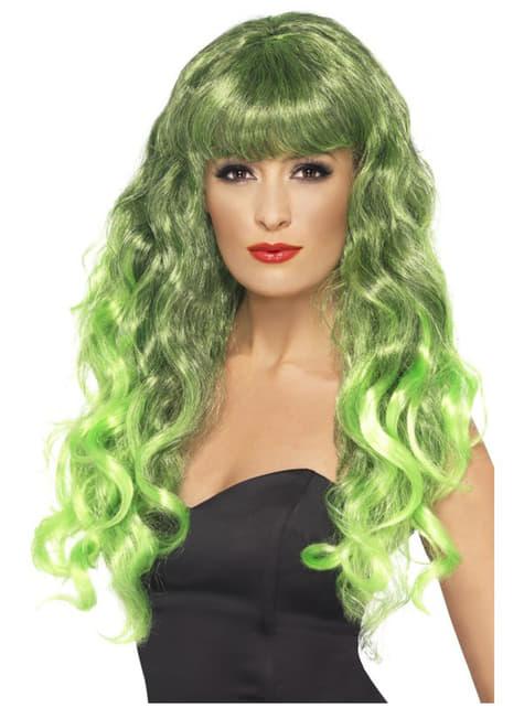 Peruca de sereia verde e preta