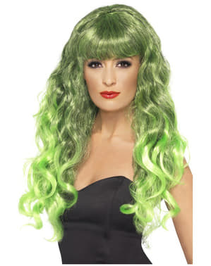 Mermaid Green and Black Wig