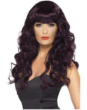 Long Plum Coloured Wig