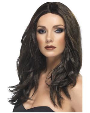 Peluca marrón oscuro para mujer