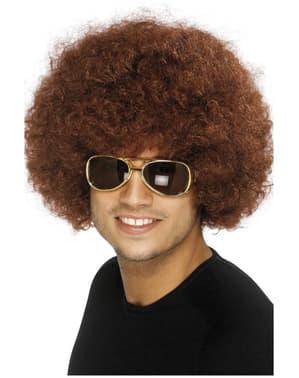 Funky Afro Pruik Bruin