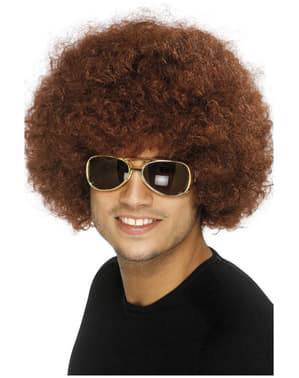 Perruque marron afro funky