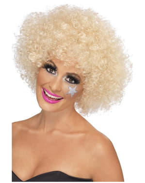 Perruque blonde afro funky