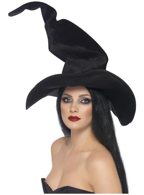 Chapéu de bruxa alto e ondulante