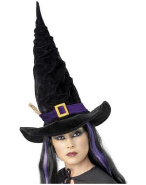 Chapéu de bruxa preto com faixa roxa