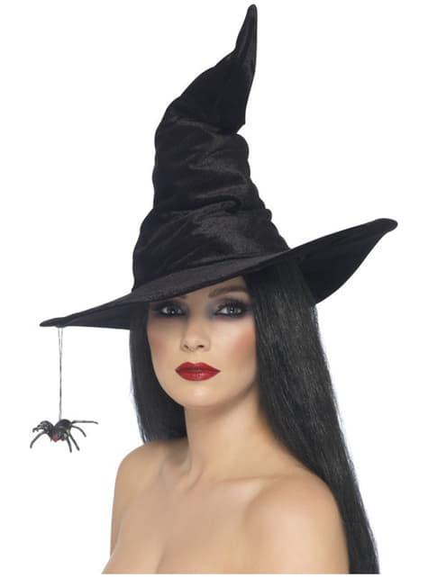 Sombrero de bruja negro con araña