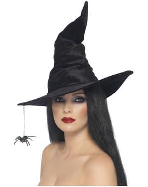 Pălărie de vrăjitoare neagră cu paianjen