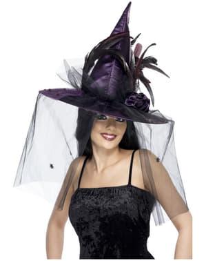 Chapéu de bruxa de penas roxo