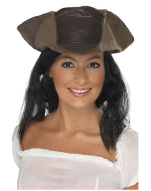Brown faux leather Pirate hat