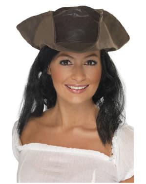 Chapéu de pirata com aspeto de couro castanho