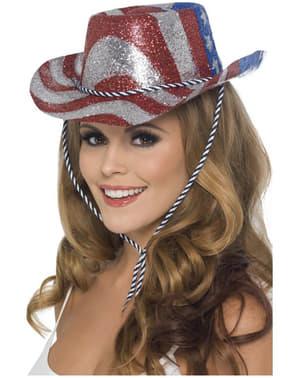 Kovbojský klobouk s americkou vlajkou pro dospělé