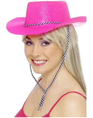 Chapeau de cow-boy rose fluo