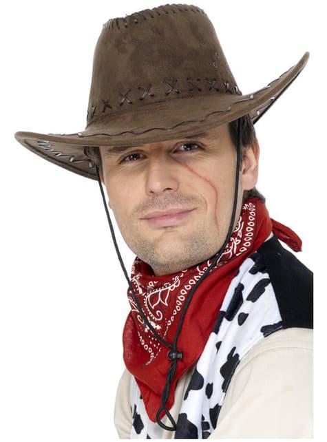 Chapéu de cowboy castanho estilo suede