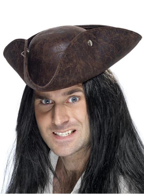 Chapéu pirata de três bicos castanho