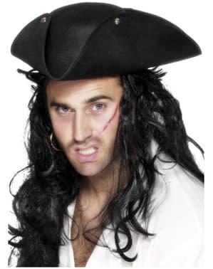 Cappello pirata a tre punte nero