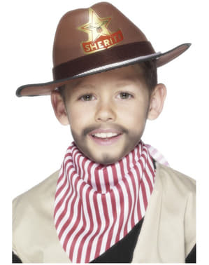Kapelusz kowboja z plakietką szeryfa