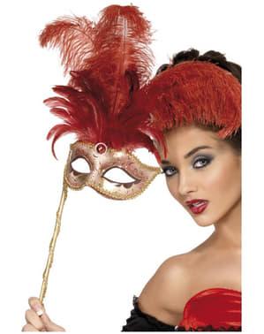 Máscara veneziana dourada para mulher