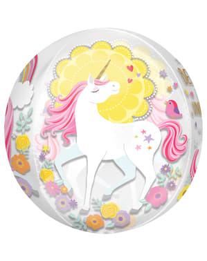 Lesklý balon princezna jednorožec středně velký