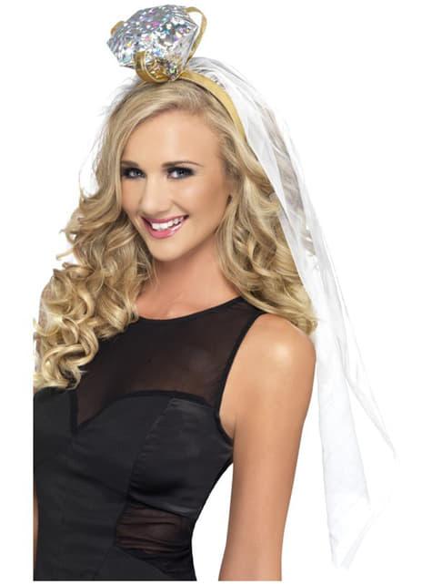 Hvid hårbøjle med bride to be ring