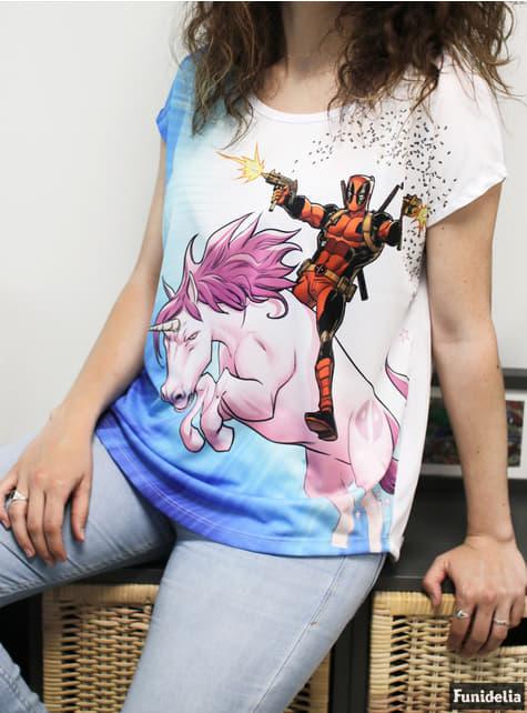 T-shirt Deadpool Unicórnio para mulher