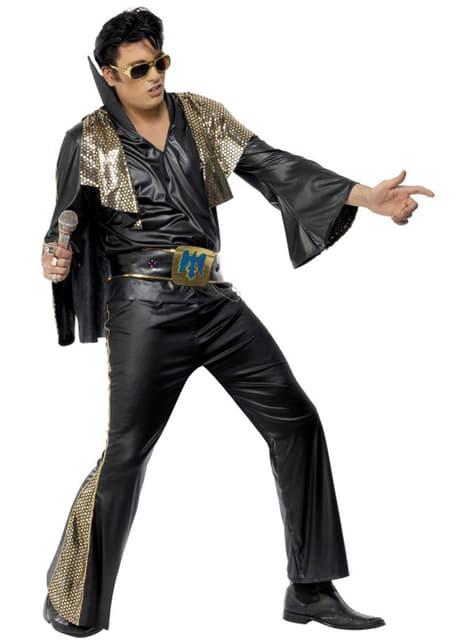 Zwart met Goud Elvis kostuum