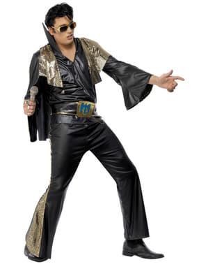 Sort og guldfarvet Elvis kostume